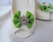 Handmade bow shoe clips with rhinestone center bridal shoe clips wedding accessories in apple green