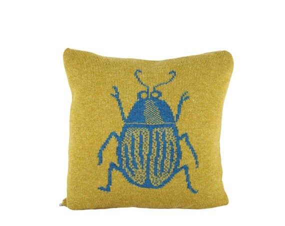 "Decorative Pillow -  'Aaaah, it's an insect' pillow - soft knitted pillow -  16""x16"", includes insert"
