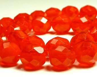 8mm Opal Siam Ruby Fire Polished Czech Glass Beads - 8 Inch Strand (25) - Round, Faceted - BD15
