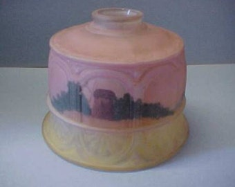 Antique Reverse Painted Lamp Shade With Landscape Scene