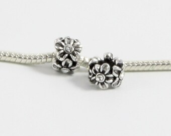 3 Beads - White Flower Rhinestone Silver European Charm Bead E0528