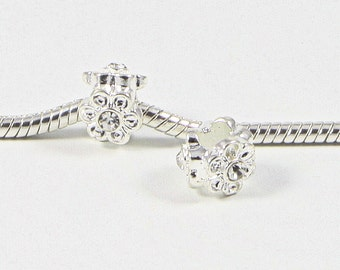 3 Beads - White Rhinestone Flower Silver European Bead Charm E0711