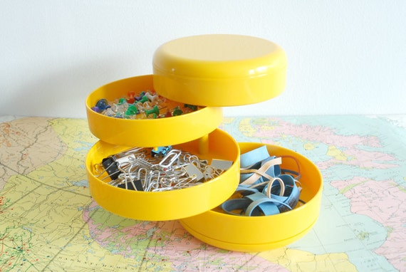 Mod Yellow Italian Desk Organizer - The Multiplor by Rino Pirovano for Rexite