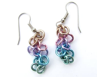 Chain Mail Earrings, Pastel Earrings, Multicolor Earrings, Shaggy Loops Earrings, Pastel Jewelry