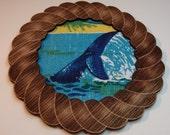 Vintage Souvenir Tea Towel Art - Whale in Nautical Frame
