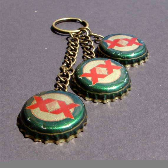 items similar to dos equis bottle cap keychain on etsy. Black Bedroom Furniture Sets. Home Design Ideas