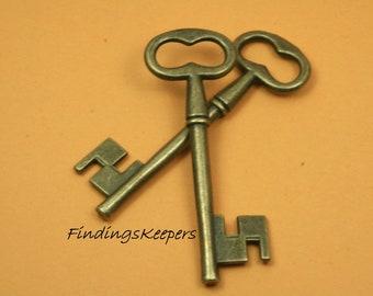 Key Charm, 2 Charms, Antique Brass Tone 58 x 20 mm  bz105