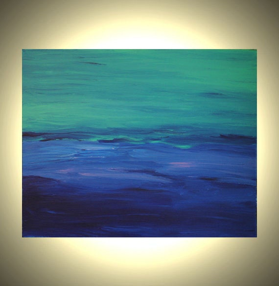 Deep Blue Sea - 20 x 16 Original Abstract Blue Painting - Ocean Colorful Blue Teal Canvas Painting