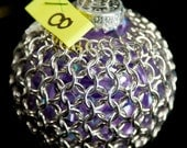 Chainmaille Wrapped Ornament in Silver & Lavender Purple