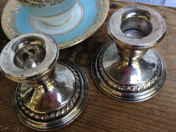 Vintage Sterling Candlesticks, Shabby Candle Holders, Columbia