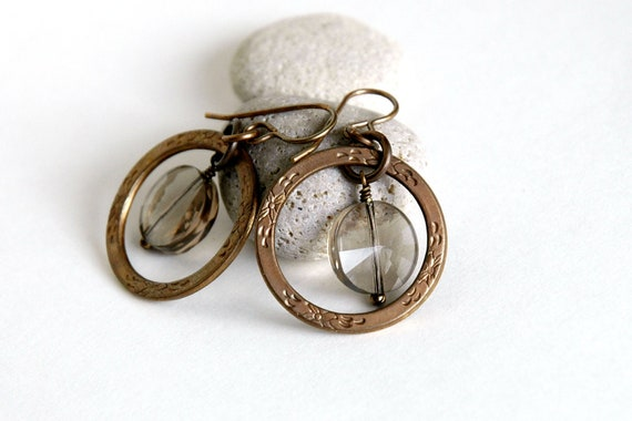 Smoky Quartz Earrings, Eternity ring, Hoop Earrings, Dangle earrings, Gift for her, Natural Brass Jewelry