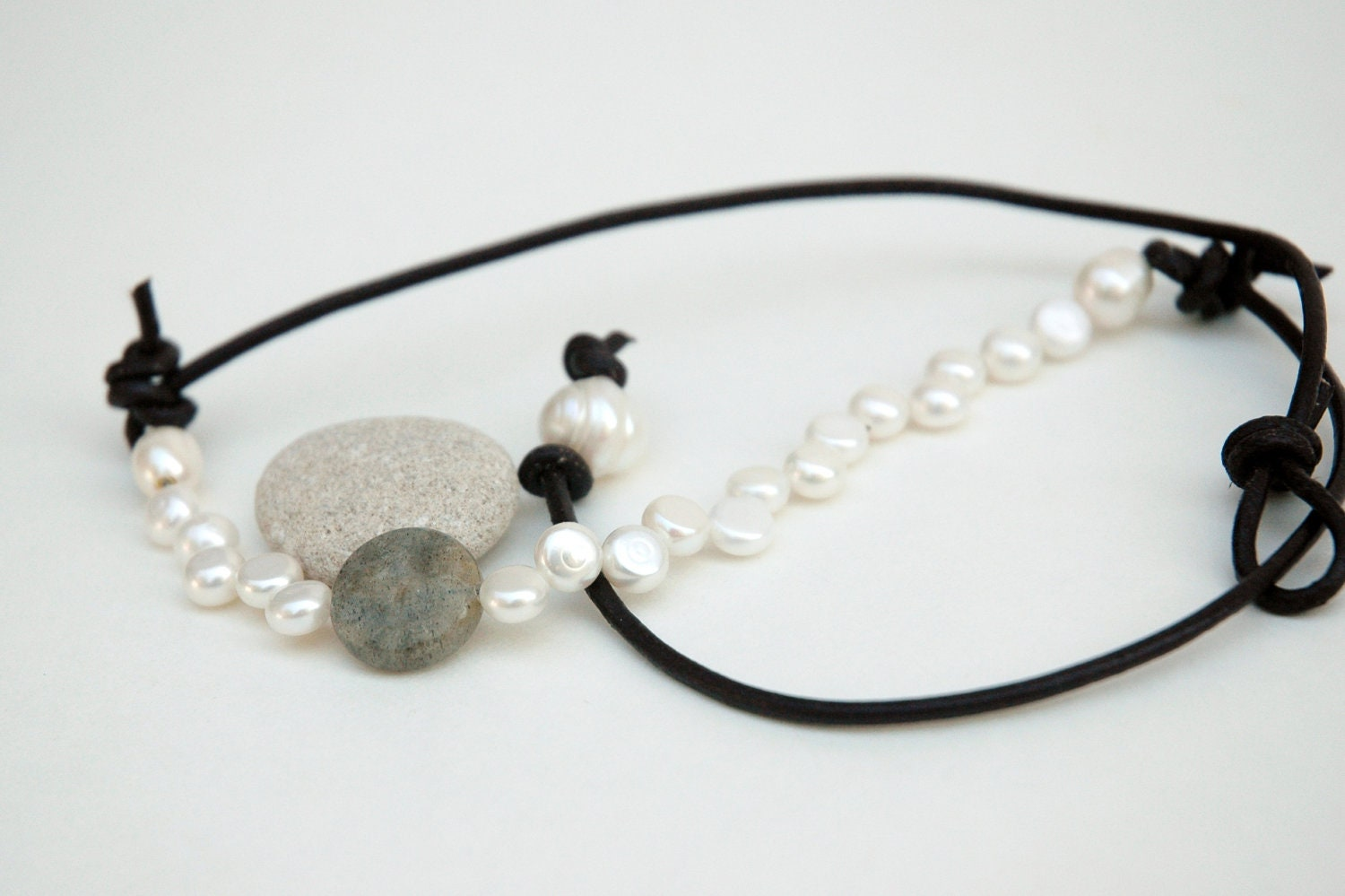leather pearl necklace labradorite by jilliandesigns4u on etsy