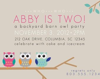 Owl Party Invitation- For Girl