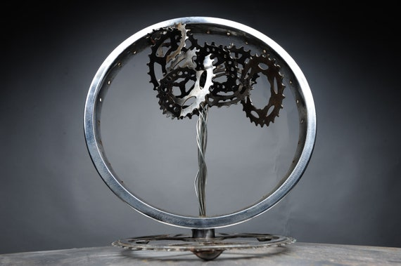 Bicycle Gear Tree Desk Sculpture, handmade from 100% recycled materials