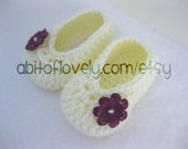 Baby Girl Infant Shoes / Slippers / Booties - Cream & Purple Flower - YOUR choice size - (newborn - 12 months) - photo prop - crochet