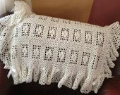 Hand crochet dainty baby blanket with ruffles and bows
