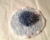 knit cupcake hat confetti blue frosting with blueberry pom pom