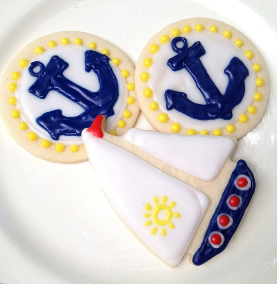 Anchor & Sailboat Sugar Cookie Iced Decorated Cookie Nautical Theme Birthday