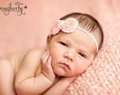 Peach Chiffon Bow Headband, baby headbands, newborn headbands, photography prop