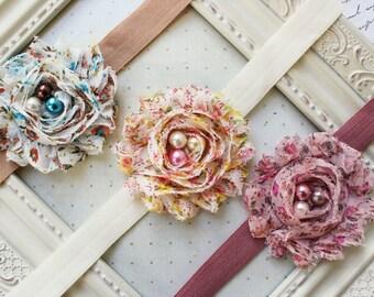 Vintage Inspired Chiffon Headband Set, chiffon headbands, pink headbands, ivory headbands, vintage headbands, photography prop