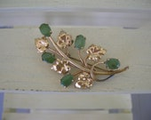 SALE   Gold and Jade Brooch   Gold PIn   Floral Design Pin  Brooch   12K  GF