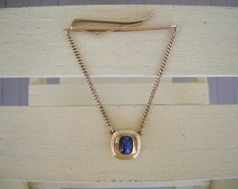 SALE Tie Bar and Chain  Kreisler Quality  Gold cont. .25  Blue Stone  U.S. A. patent  2195594   circa 1940s