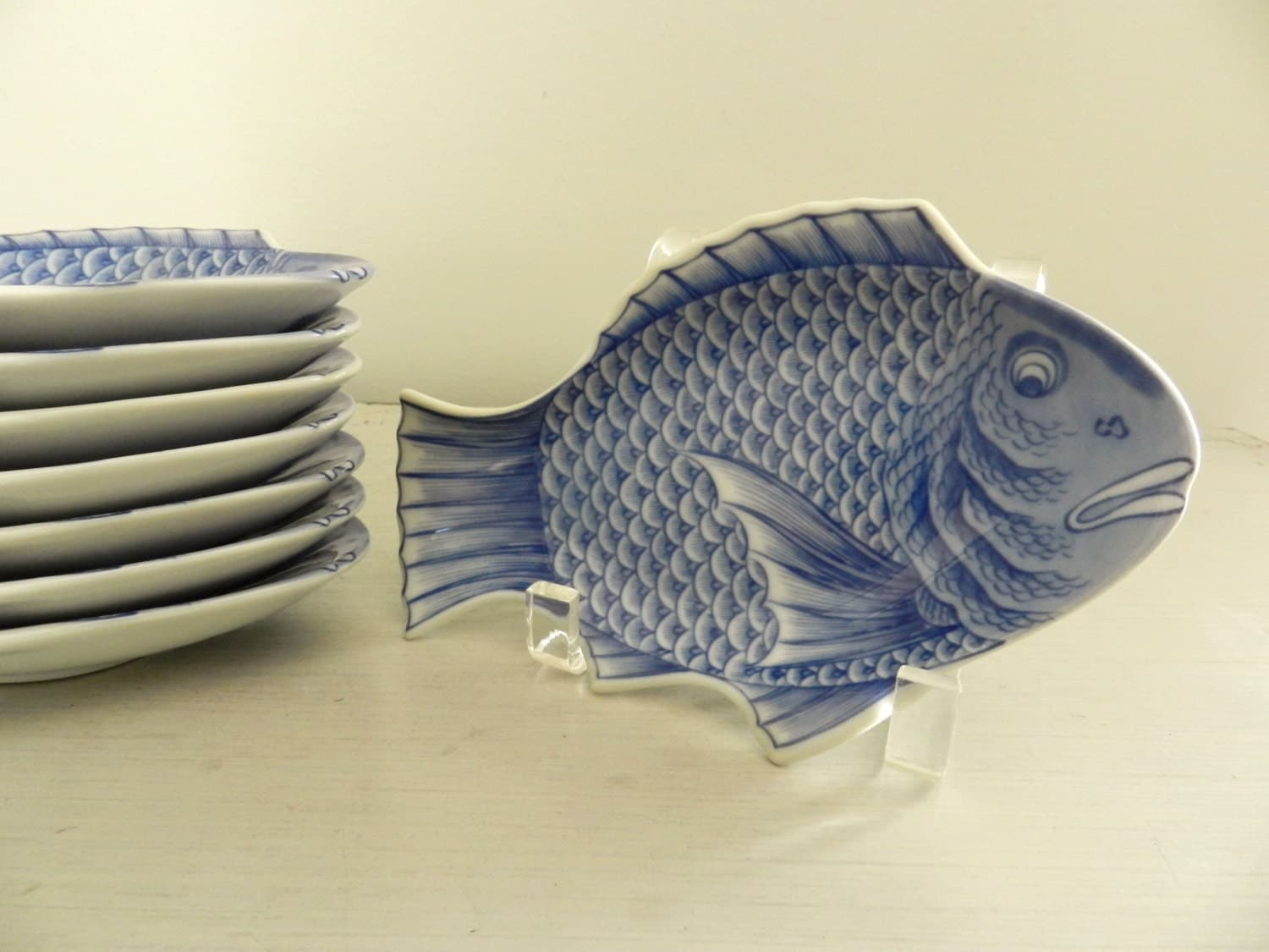 Vintage appetizer sushi plates fish shaped asian by for Fish shaped plates