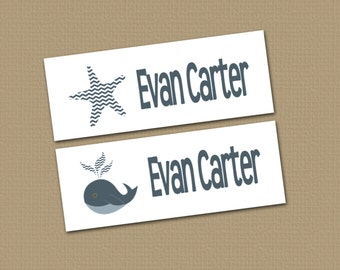 Personalized Waterproof Label Stickers - Boy - Nautical - Perfect for Bottles, Sippy Cups, Daycare, School - Dishwasher Safe