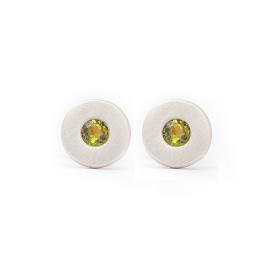 Stud Earrings Sterling Silver  Mm Round Gold Disc Small