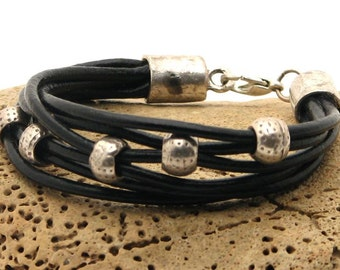 EXPRESS SHIPPING Women's leather bracelet.Handmade multi strand black leather bracelet with silver plated beads and clasp.