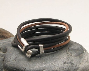 EXPRESS SHIPPING Unisex leather bracelet. Black and natural multi strap , bangle leather  bracelet with silver plated clasp