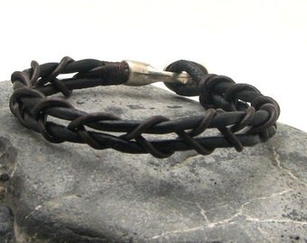 EXPRESS SHIPPING Fathers day gift. Men's leather bracelet Black leather braided bangle bracelet with silver plated clasp.Gift for him.