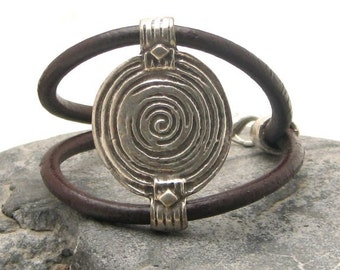EXPRESS SHIPPING Women's leather bracelet. Brown leather women's cuff bracelet with silver plated tribal texture connector and clasp