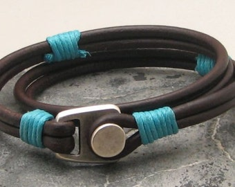 EXPRESS SHIPPING Men's leather bracelets. Brown leather wrap men's leather bracelets with silver plated button clasp