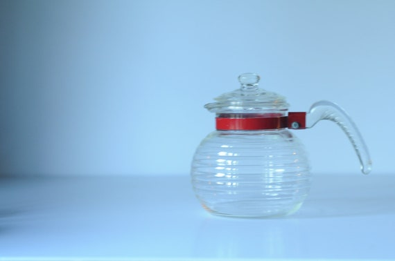Vintage Tea Pot Ribbed Clear Glass Tea Pot With Glass Handle Red Metal Band