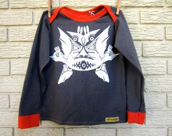 5T Grey Orange Tribal Long Sleeve Upcycled T-Shirt