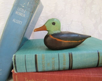 Duck- decoy-  wooden, hand carved- Small Duck Sculpture- Hand Painted-  hunter gift - Vintage Antique -Nautical Style- Lake House Decor
