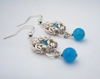 Cynara - Silver and Blue Jade Chainmaille Earrings