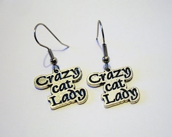 Crazy Cat Lady - Silver Charm Earrings