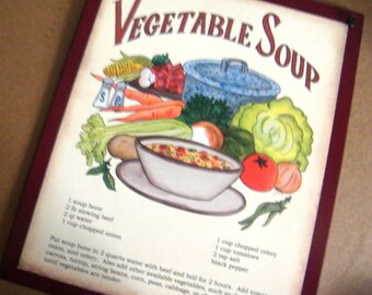 Retro Vintage Primitive VEGETABLE SOUP RECIPE Sign Country Kitchen Burg Wood Wall Decor