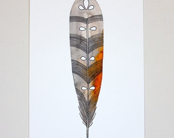 Seeded Feather Painting - Archival Print - Watercolor Art