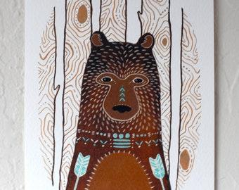 Bear Illustration Painting - Watercolor Art - Hunter, the Little Brown Bear by Marisa Redondo