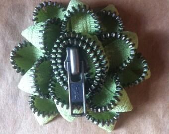 Light Green Zipper Flower Pin