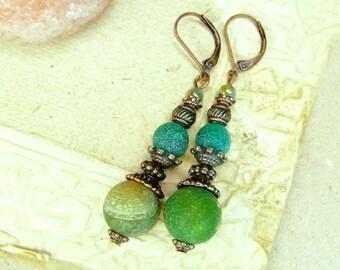 Copper Yellow Green Fire Agate Earrings - Birthstone Earrings