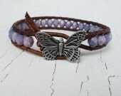 Purple Butterfly Bracelet, Leather Wrap Bracelet, Butterfly Jewelry, Boho Bohemian Chic, Lavender Bracelet, Pale Purple Jewelry