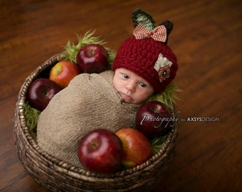 Baby Apple Hat - Fall Autumn Hat- Photography Prop - Baby Girl - Baby Boy