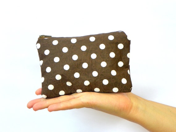 Brown Pouch, Fall Cosmetic Pouch, Change Wallet, Brown and white Coin Purse, Small Make up Bag