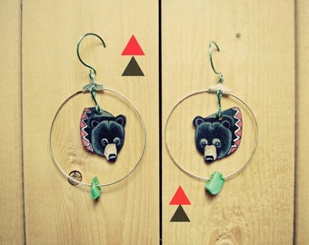 SALE Black Bear Earrings  / Chevron Earrings / Hoop Earrings / Turquoise  / Woodland Animal / Zig Zag /  Wearable Art