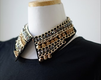 Gold color chain and arrow stud  handmade collar necklace. high quality custom jewelry beaded