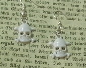 White Skull Dangle Earrings - You Choose With Silver Or Gold Plated Earring Findings